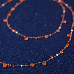 Long. Carnelian, Peach Moonstone, Mex. Fire Opal Necklace