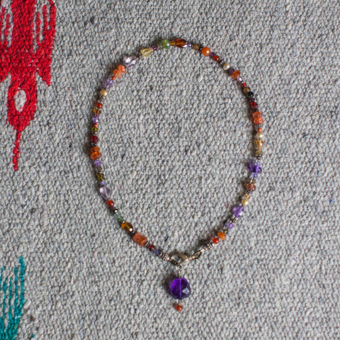 Mixed Stones; Amethyst, Sunstone, Citrine Necklace