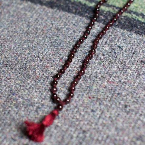Burgundy Small Bead with Red Tassel String