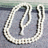 White Large Beads with White Tassel String