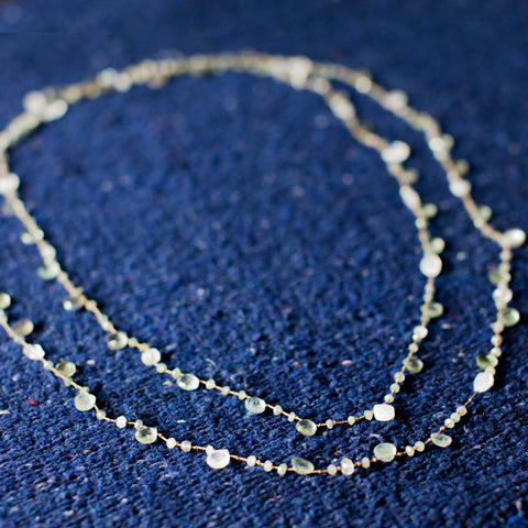Long- Moss Aquamarine, Moonstone Labradorite Necklace