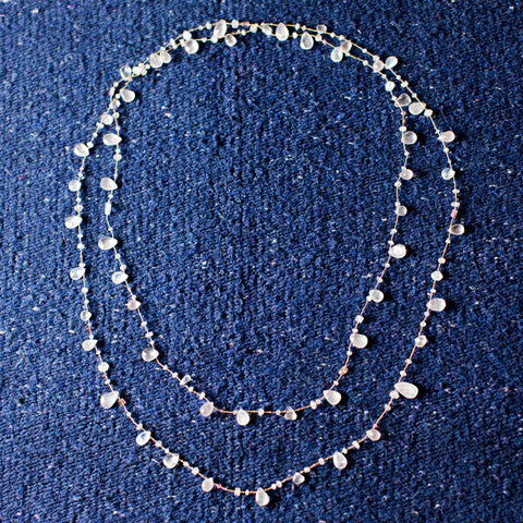 Long- Rose Quartz, Moonstone Necklace
