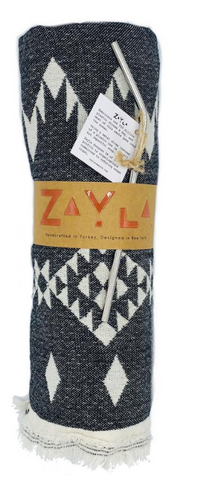 Montauk Ontauk Cotton Towel - Dark Grey Aztec