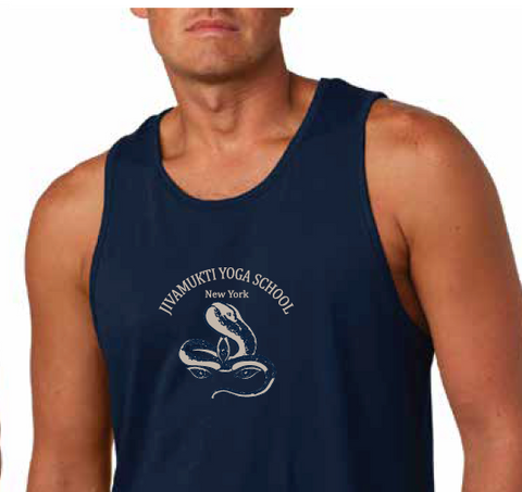 Jivamukti Men's Fitted Tank - Navy