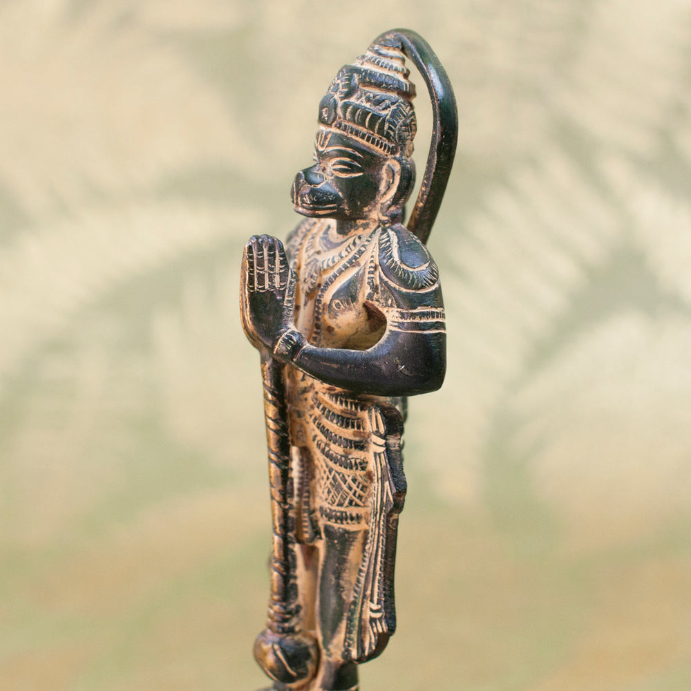 Load image into Gallery viewer, Hanuman w Mace - Green w Yellow Patina