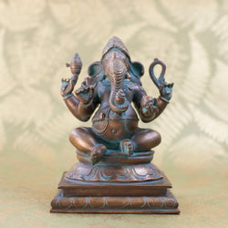 Seated Ganesha - Bronze w Green Patina