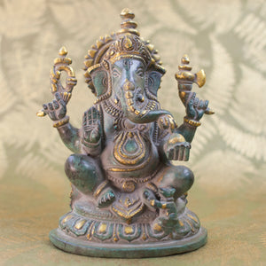 Seated Ganesha - Light Green w Gold