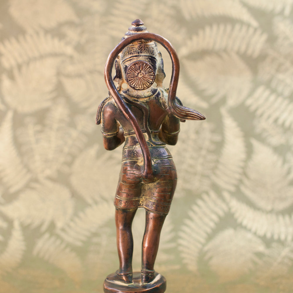 Load image into Gallery viewer, Hanuman - Standing Namaste - Bronze w Yellow Patina