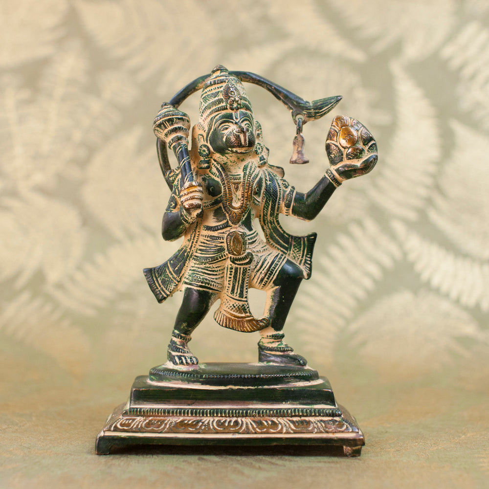 Hanuman Warrior Pose - Green w Yellow Patina