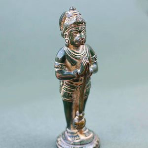 Hanuman w Mace - Green w Yellow Patina