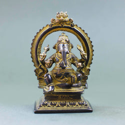 Seated Ganesha - Black w Yellow Patina