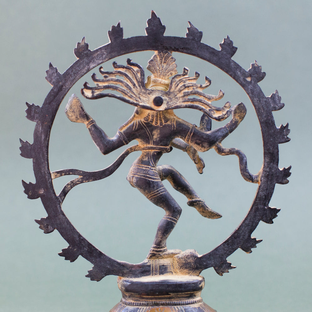 Shiva Nataraj with Ring of Flames - Yellow Patina