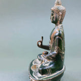 Medicine Buddha - Dark Green with Yellow Patina