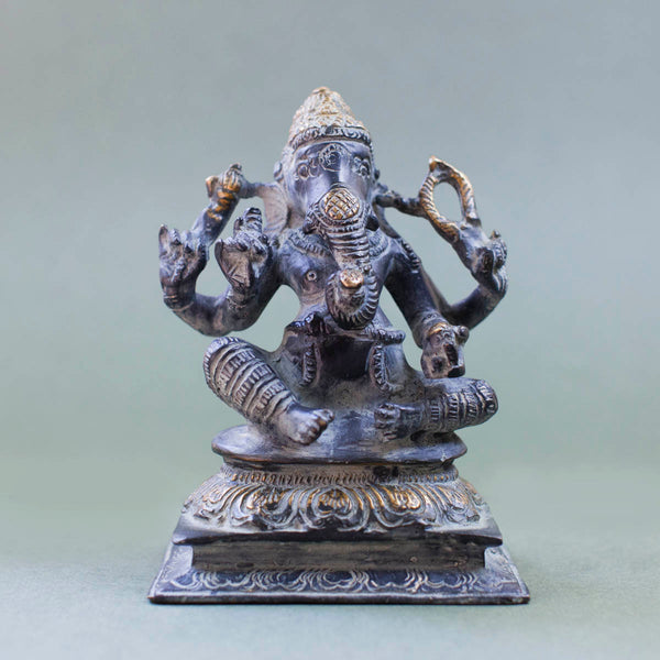 Seated Ganesha - Dark Grey with Gold Patina