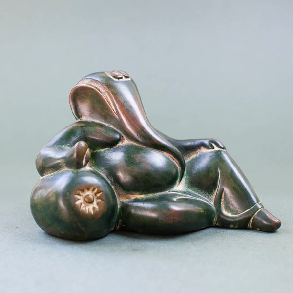 Reclining Ganesha - Dark Green w Yellow Patina