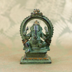 Seated Ganesha - Green Patina w Gold