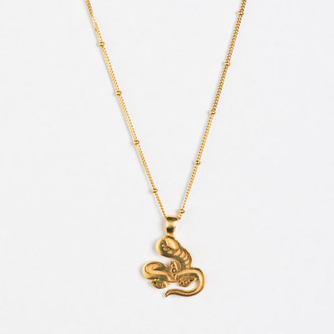 Jivamukti Snake Gold Plated Necklace