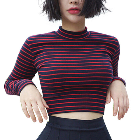 Striped Cropped Turtleneck