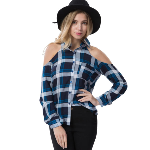 Off The Shoulder Checked Shirt