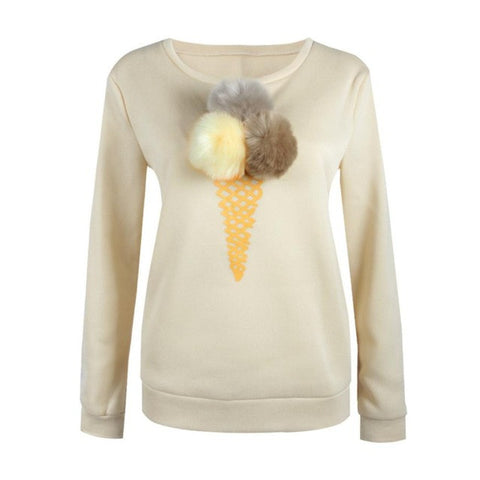Kawaii Pompom Long Sleeve Sweatshirt