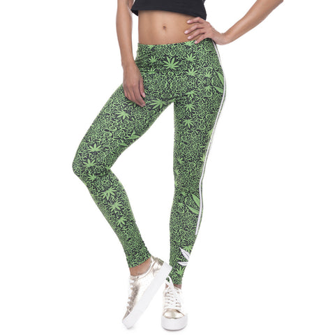 Weed Striped Leggings - Extended Sizes