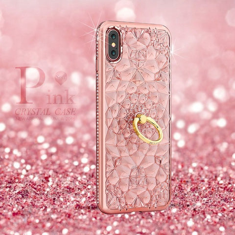 Glitter Diamond Ring Case For iPhone X