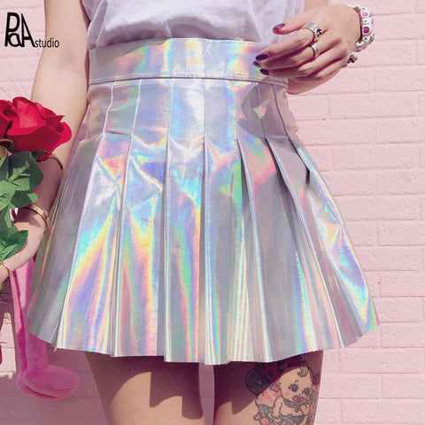 Silver Holographic Skirt
