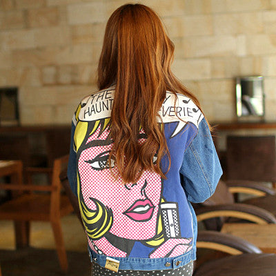 Vintage Red Lips Denim Jacket - WearTF!