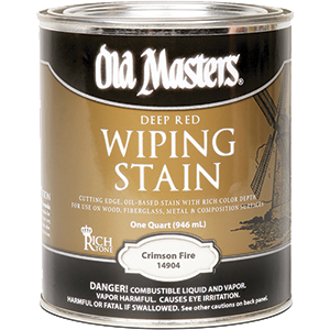 OLD MASTERS 14904 CRIMSON FIRE DEEP RED WIPING STAIN 250 VOC