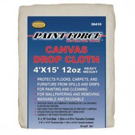 PAINT-FORCE 30410 4' X 15' 12 OZ CANVAS DROP CLOTH