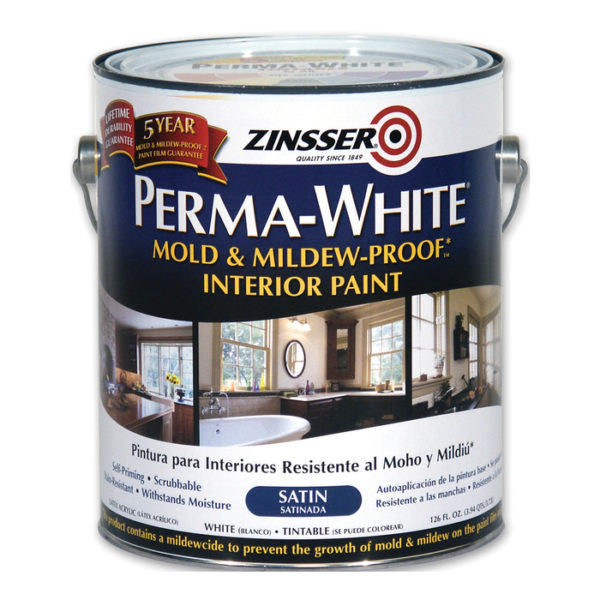 ZINSSER PERMA-WHITE 2711 MOLD & MILDEW-PROOF INTERIOR PAINT SATIN WHITE