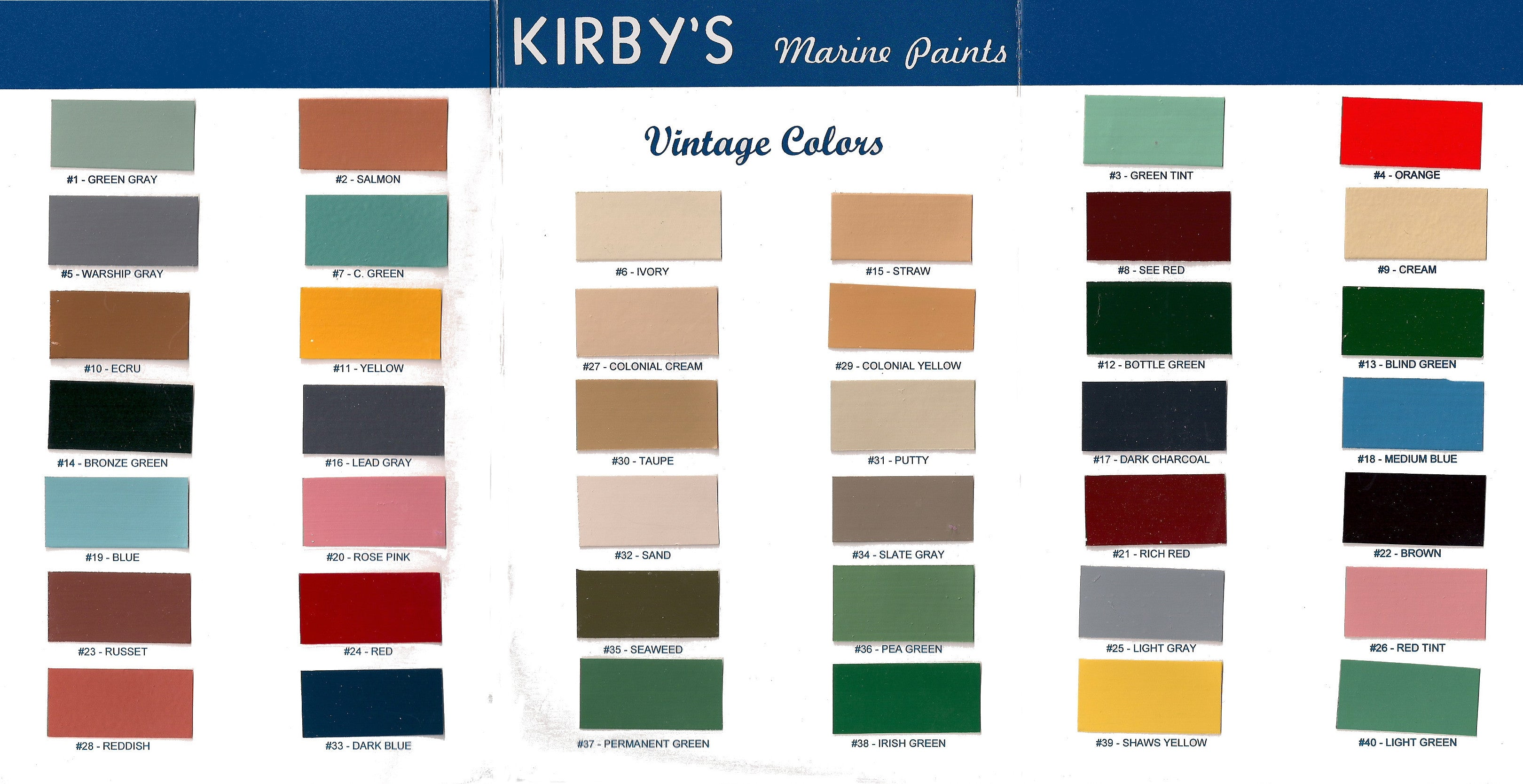 Kirbys Vintage Color Chart George Kirby Jr Paint Company