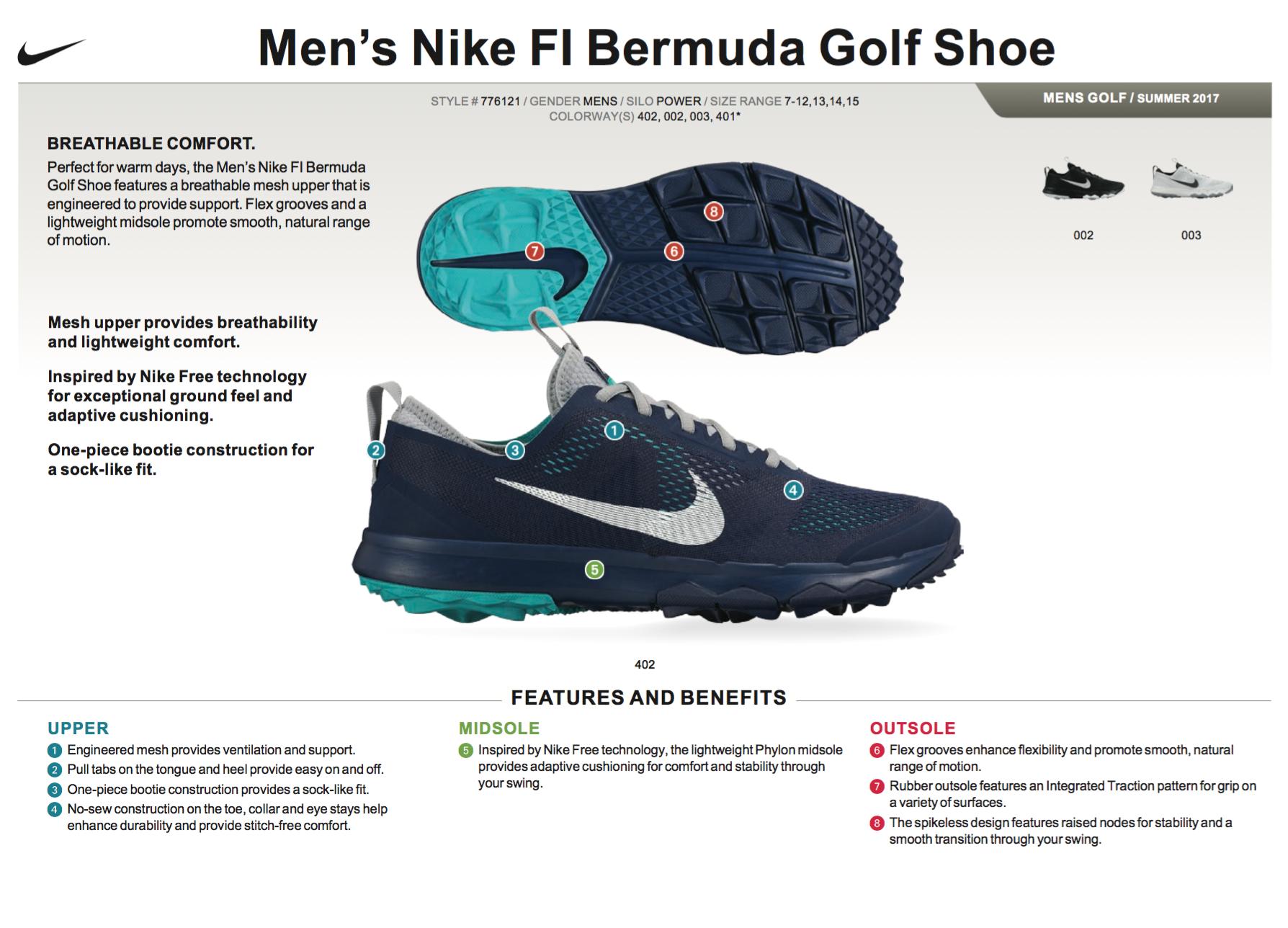 b7c31c9ff6671 ... FI Bermuda Men's Golf Shoe is designed for stability and a locked-in  feel with integrated outsole traction and an interior bootie that hugs the  foot.