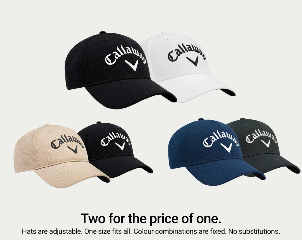 Two Callaway Men's Performance Side Crested Structured Golf Hats (One Size Fits All)
