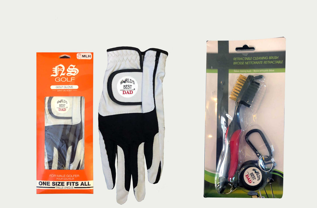 Golf Glove and Retractable Cleaning Brush combo (World's Best Dad - Great Father's Day Gift)