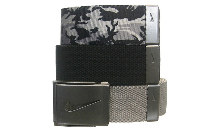 Three Nike Men's Web Belts (3 Straps - 1 Buckle)