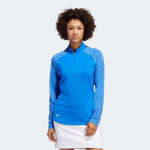 Adidas Ladies Solid UV Long Sleeve Polo Shirt