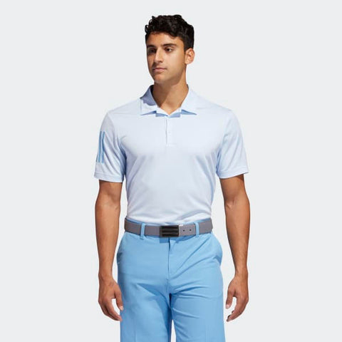 TWO Adidas Men's Polos (One Light Blue and One Purple/Grey Shirt)
