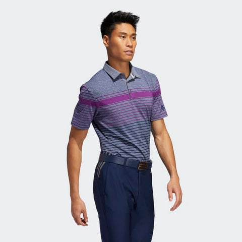 TWO Adidas Men's Polos (One Blue with Grey Shoulders Shirt and One Grey with Purple Stripes Shirt)