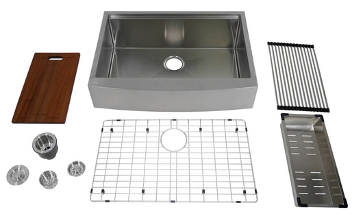 Auric 30-inch Retro-fit Curved Apron-front Workstation Farmhouse Kitchen Sink Stainless Steel Short Apron Single Bowl - SCAL-16-30-retro SGL COMBO