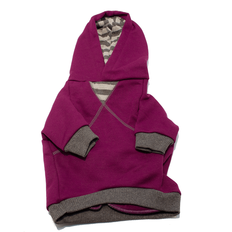 Purple Striped Dog Hoodie