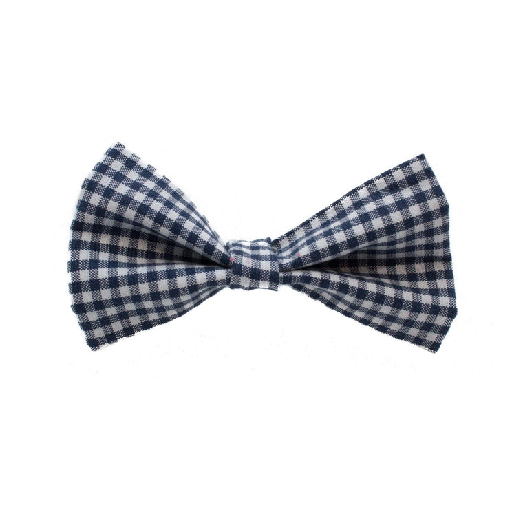 Navy Plaid Dog Bow Tie