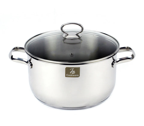 "Charment Stainless Steel Induction Stock Pot, 10"", 6 quart"