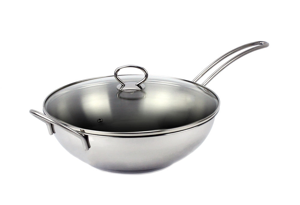 "Stainless Steel Induction Wok Pan, 11"" with Tempered Glass Lid"