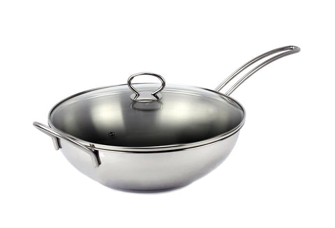 "Stainless Steel Induction Wok Pan 13"", with Tempered Glass Lid"