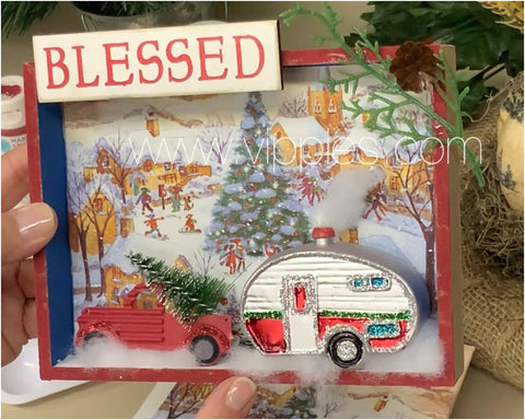 Christmas Shadowbox with Red Pickup Truck and Trailer