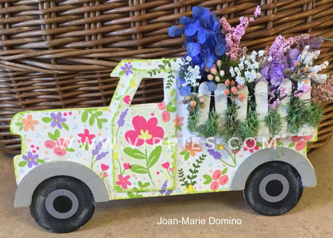 Decoupage DIY Pick-up Truck with Spring Flower Bed