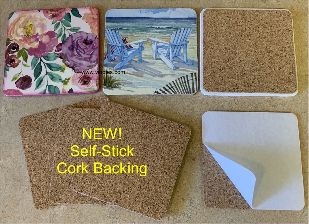 31SSSQ Square Self-Stick Cork Backing - Pack of 4
