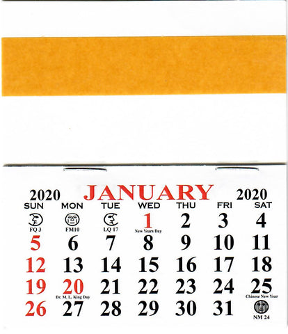 2020 Self-Stick Easel Back Calendars