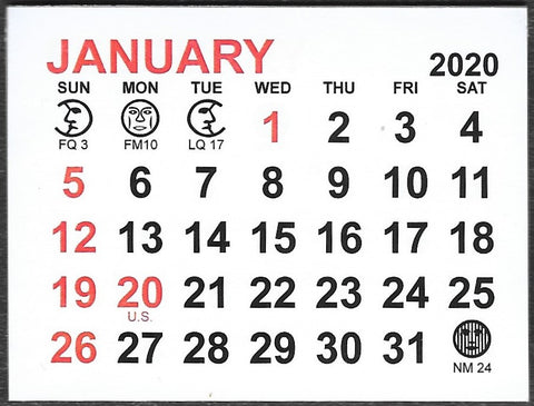 "Large 2020 Self-Stick Calendar Pads  3"" x 2-1/4"""